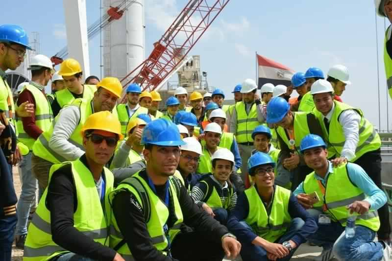 Students of the second summit of Egyptian university for students are in a visit to Suez Canal Tunnel Area